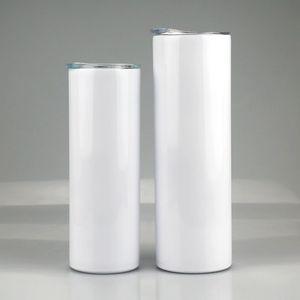 20oz 30oz 승화 스트레이트 스키니 텀블러 스테인레스 스틸 빈 흰색 스키니 컵 뚜껑 실린더 물병 커피 바다 FWC3603