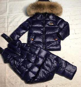 진짜 너구리 모피 2019 겨울 자켓 아이 정장 재킷 + 바지 Twinset 소년 소녀 스키 양복 자켓 겉옷 Parka LJ201125
