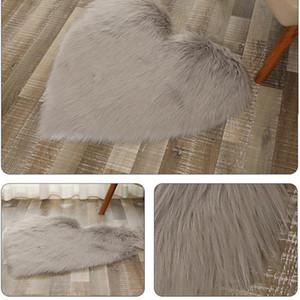 Spinning Wool Floor Doormats Pure Color Rug Decor Breathable Kids Bedroom Mat Heart Shape Antiskid for Living Room Multi Purpose