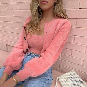 2 Pcs Casual Womens Long Sleeve Knitted Fluffy Cardigan Sweater Suit Female Pink Slim Button Crop Sweater Tops Plus Size S Xl