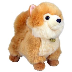 Aurora Toys Dog تولد مع معطف أبيض حريري طويل أفخم كلب صغير طويل الشعر بيشون فرايز كلب الكلاب دمية الأطفال هدايا عيد