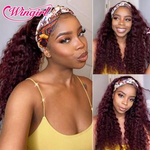99J Farbe Stirnband Perücke Menschliches Haar Wasserwelle Remy Brazilian Water Wave Perücke 10-30 Full Machine Made Headband für schwarze Frauen