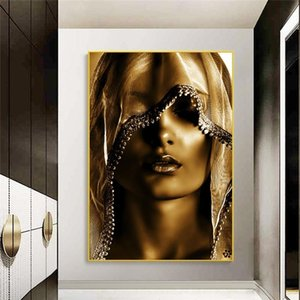 Golden Makeup Women Canvas Paintings Posters and Print Nordic Style Wall Art Pictures Scandinavian Cuadros for Living Room Decor