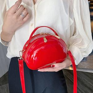 Designer - Mode Sacs de bandoulière en cuir verni à la mode pour femmes tendance Sac à main à l'épaule de couleur solide sauvage