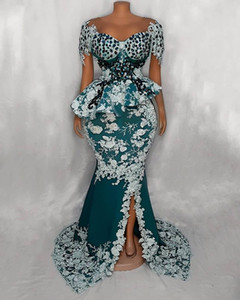 2020 Arabic Aso Ebi Luxurious Lace Crystals Evening Dresses Mermaid Prom Dresses Hunter Green Formal Party Second Reception Gowns ZJ055