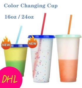 24 oz Color Magic Changer Coupe Skinny Gobelets Coupe Boire en plastique avec couvercle et paille bonbons Couleurs Café Tasse magique Bouteilles d'eau FWC2587