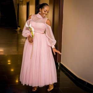 Pink Bridesmaid Dresses High Neck Long Sleeve Ankle Length A Line Lace Garden Country Wedding Guest Party Gown Maid of Honor Dress Plus Size