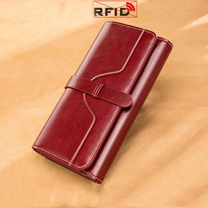 New Fashion Leather Women Wallet Large Capacity Retro Long Handbag Designer Wallet Women Mobile Phone Bag Rfid Anti Theft Wallet