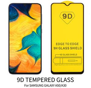 100pcs / lot 9D Curve Schirm-Schutz für Samsung A10 A20 A20 A30 A40 A40 e s A50 A60 A70 A80 A90 Shielded Voll Ausgeglichenes Glas Coverage