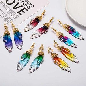El yapımı Peri Simülasyon Klip Küpe Böcek Kelebek Kanatlı Deldi Rhinestone Kulak Klipler Romantik Gelin Jewelryvip