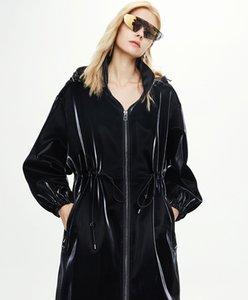 82004# Original Desginer JAZZEVAR Autumn Winter New Women's Casual Trench Coat Imitated Shark PU Leather Long Windbreaker S-L