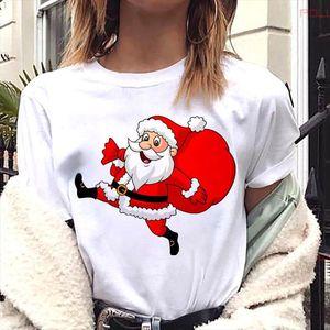 Female Merry Christmas Holiday Tshirts Funny Santa Claus Graphic Print Women T shirt Girls Short Sleeve Tops Tee