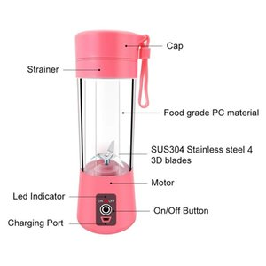 Portable Fruit Juicer 380ml 6 Blades Portable Electric Home USB Rechargeable Smoothie Maker Blenders Machine Bottle Juicing Cup CCE2218
