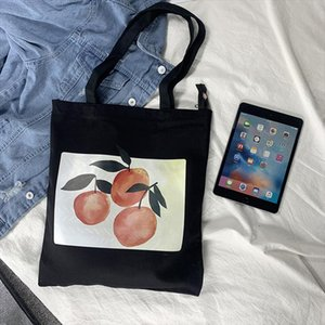 Fashion Fruit Printing Abstract Women Canvas Bags Shoulder Bags 2020 New Arrival Female Casual Soft Zipper Canvas Handbags