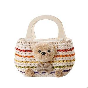 Women Beach Handbag Summer INS Popular Female Straw Bags Casual Lady Mini Fashion Bear Handle Bag Travel Knitted Bolsa SS3174