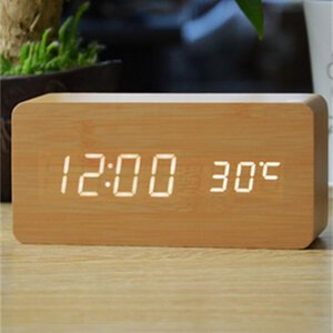 Wooden LED Alarm Clock Electronic Desktop Digital Table Clocks 3 Brightness Adjustable Voice Control Displays Time Temperature Home Decor
