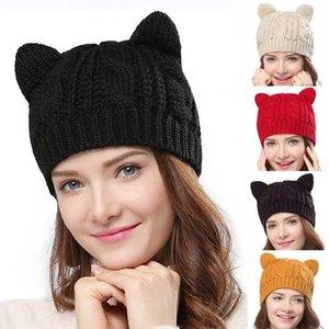 2020 Women's Knitted Caps with Cat Ears Sharp Knitting Hats Warm Women Beanies Crochet Hats Hip Hop Cap Ski Hat