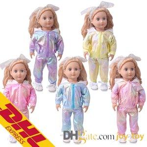 Mix Тип с длинным рукавом Футболка Ткань Hoodie Брюки Спорт Экипировка для 18 дюймов куклы American Girl