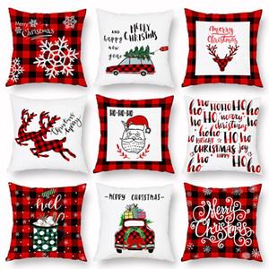 Noel Yastık Kılıfı Ekose Merry Christmas Yastık Örtüleri Noel ağacı Geyik Kamyon Yastık Ev Partisi Dekoratif 16 stilleri BWB2948
