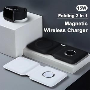 새로운 아이폰 12 Pro Magsafe 충전기 2에 도착 Apple iWatch 6 또는 AirPod 용 접이식 자기 이중 충전 무선 충전기