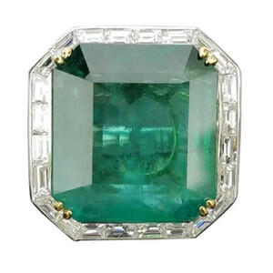 Square Zircon Emerald Plated Two-tone Female Ring Small Octagonal Inlaid Jewelry Size 5 6 7 8 9 10 11 12