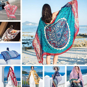 Thicken 90x180cm Bikini Bathing Swimwear Cover Up Sarong Wrap Scarf Twill cotton Pareo Beach Cover Ups Women Large Beach Dress