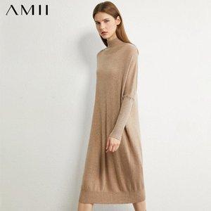 AMII Minimalisme Automne Tricoté Femmes Robe causales Solid Turtleneck femmes Pull veau longueur robe Femme 12030244