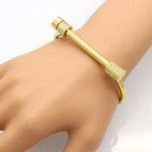 Womens Stainless Steel Bangle Bar Screw Horseshoe Bracelet in Silverly Black Golden Rose Gold Woman Bracelets Brazalet Jewelry