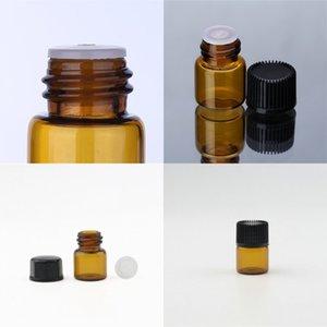 Vente chaude petite bouteilles d'huile essentielle ambre avec orifice bouchons de bouchons de verre 1 ml bouteille de verre brun vides flacons de verre HHE3117 63 J2