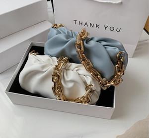 Fashion design Shoulder Underarm Bag handbag Female 2020 Popular New Summer Fold Wide Gold Chain Clouds White