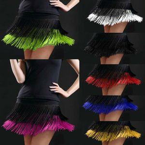 Women Latin Dance Skirts Tango Rumba Salsa Cha cha Ballroom Fringe Tassels Mini Dancewear 803 567 Drop Shipping