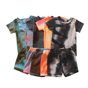 Baby Summer Clothing Baby Boys Girls Toddler Casual Clothes Tie Dye T-shirt and Short Sets 2Pcs Colorful Outfits 1-5T