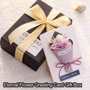 Carta della carta della festa della mamma Cartolina del regalo Partito favorise Biglietto di auguri floreale secco con scatola regalo Bouquet Greeting Inviti di nozze1