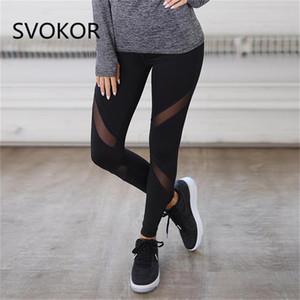 Svokor Hohe Taille Mesh Fitness Leggings Frauen Polyester Schwarz Patchwork Knöchellangen Sexy Workout Hose Legging Weiblich