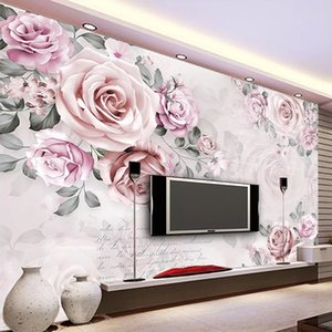Custom Self-Adhesive Mural Wallpaper 3D Hand Painted Pink Rose Fresco Bedroom Wedding House Romantic Waterproof 3D Wall Stickers