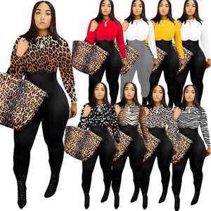 Mulheres manga comprida Romper Designer Jumpsuit Pants Leopard Cores sólidas magro Bodysuit capuz blusa geral Leggings Roupa NOVO F110601