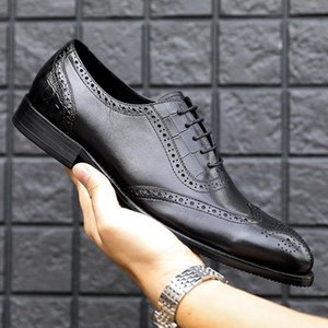 Men leather shoes business dress suit shoes men brand Bullock genuine leather black slipon wedding mens Phenkang 2020