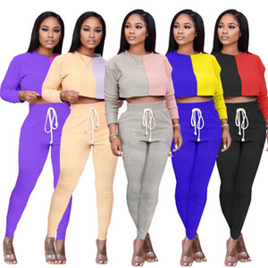 Women Tracksuit O Neck Short Tshirts Patchwork Color Two Pieces Sets Casual Long Sleeve Slim Womens Clothing 2 Piece Set