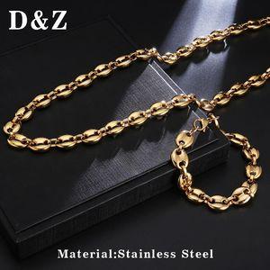 DZ 11MM y granos de café Set pulseras de cadenas de acero inoxidable Collares Para Hombres Mujeres Hiphop Declaración encanto joya de la moda collar
