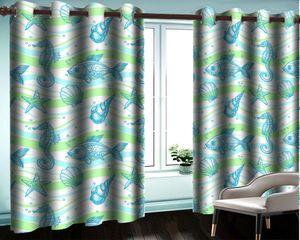 3d Mural занавес Современные окна Спальня 3d занавес Простой Bedroom рыбы Shell гостиной Красивая 3d плотными шторами