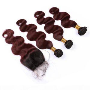 Body Wave 1B 99J Wine Red Ombre Человеческие волосы Weaves с закрытием Ombre Burgundy Virgin Hair Hair Backure 4x4 с пучками малайзийских волос