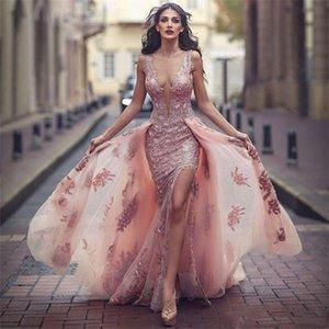 Nuevo Vestido formal rosado de Cuello V Increíble Sobre falda Apliques Delantero Slit Tulle Encaje Vestido de noche Robes de Soiree