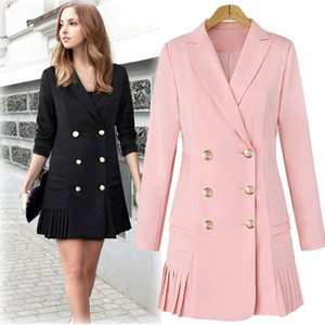 Dress Suits For Women Long Blazer Jacket Runway Designer Double Breasted Office Ladies Elegant Pleated Mini Dress Plus Size T200117