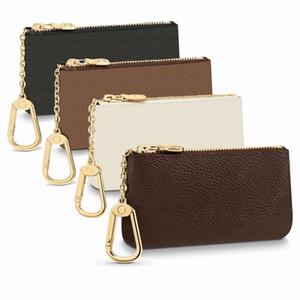 Top Quality Fashion 4 Colors Key Pouch Damier Leather Holds Holds Classical Women Portachiavi Portamonete Portafogli in pelle Piccoli portafogli in pelle con scatola