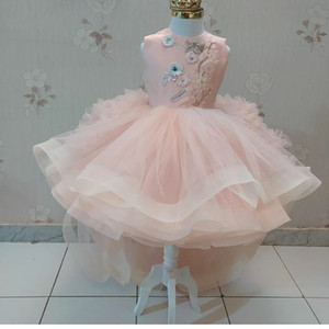 Pink Luxurious Flower Girl Dresses Hi-Lo Ball Gown Tulle Little Girl Wedding Dresses Cheap Communion Pageant Dresses Gowns F218