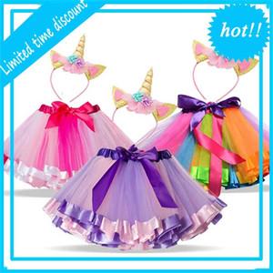 New Unicorn Sets Princess up Summer Unicornio Smoking Rainbow Tutu Smoke For Baby Girl Birthday Party Dress 1-8T