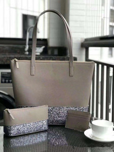 glitter tote handbags shopping bag match with Cosmetic bag card holder sets pu leather 5 colors