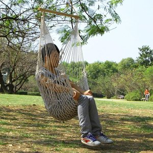 NEW Aotu AT6732 Outdoor Cotton Rope Net Swing Frame Hanging Chair Hammock, Size: 130x90cm