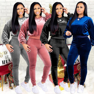 Autumn Velvet Tracksuit Women Sets Winter 2 Piece Velour Set African Sweat Suit Plus Size Sweatshirt Two Piece Outfits Ladies