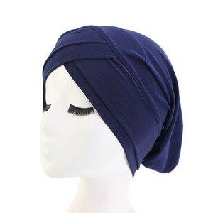2020 muslimische Frauen Stretchy Hijabs Hat Turban Schal grundiert Hut Krebs Mützen Chemo Kappe Plain Hijabs Caps Ethnic Kopfbedeckung